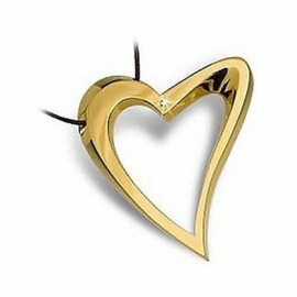 Woman Necklace BROSWAY BDE03 Heart Gold Plated Gold with Diamond