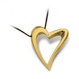 Woman Necklace BROSWAY BDE04 Heart Gold Plated Gold with Diamond