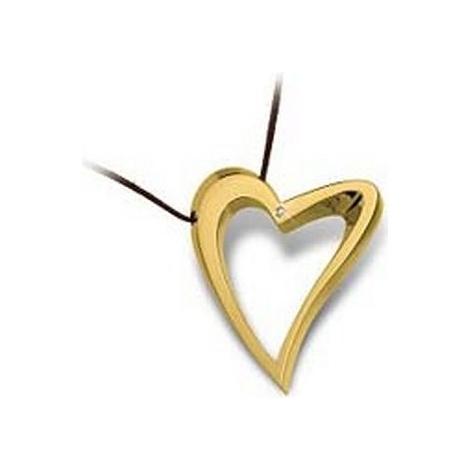 Collana Donna BROSWAY  BDE04 Cuore Acciaio placcata in Oro con Diamante