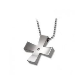 Men's Necklace BROSWAY CRS1 Cross Steel with Zircon