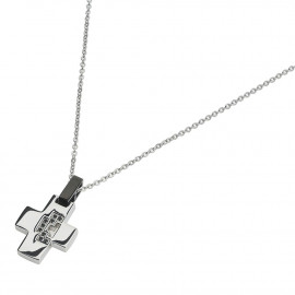 UCN019YG Stainless Steel Necklace with Black Spinel Steel