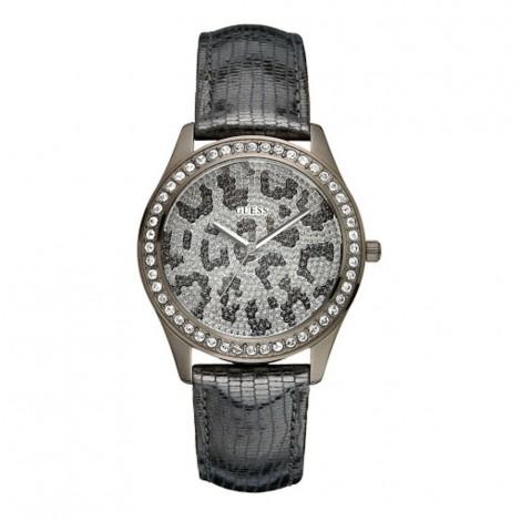 Orologio Donna GUESS W10239L1 Cassa Zirconata Cinturino Pelle Nero