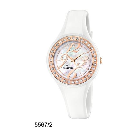 Orologio Bambina CALYPSO K5567/2 Cassa Dorata e Cinturino Gomma Bianco