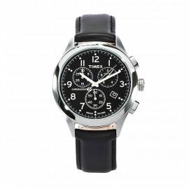 Crono Unisex Watch TIMEX T2M467 Steel Case Leather Strap