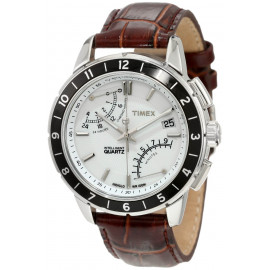 Orologio Crono Uomo TIMEX T2N496 Cassa in Acciaio Cinturino in Pelle