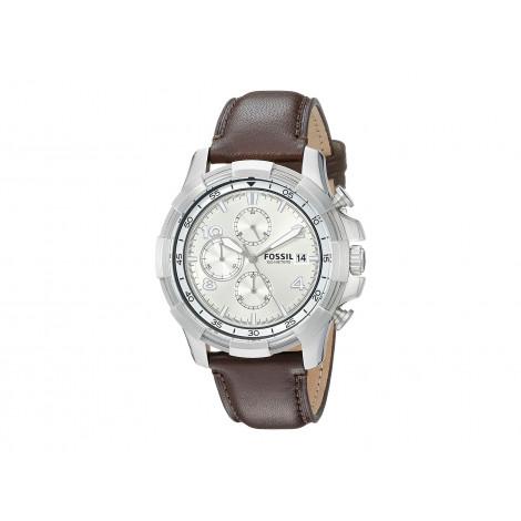 Orologio Uomo Bianco FOSSIL FS5114 Cassa in Acciaio Cinturino in Pelle