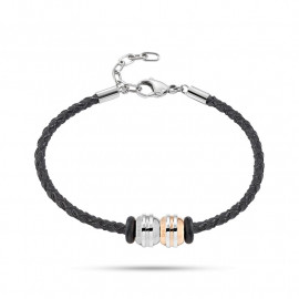 Bracciale con charms uomo SECTOR jewels SAAL129 ACE in pelle e acciaio