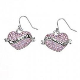 Orecchini Donna GUESS UBE11150 Cuore Acciaio con Smalto Rosa e Cristalli