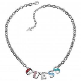 Collana Donna GUESS UBN11202 Acciaio con Lettere Logo Cristalli Multicolore