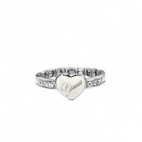 magasin d'usine sélection premium tout neuf Anello Donna GUESS UBR31110-L in Acciaio con Cristalli e Cuore Smalatato
