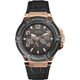 Men's Watch GUESS W0040G5 Steel Case Black Leather Strap