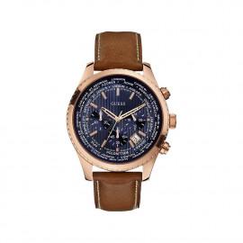 Wrist Watch Men GUESS W0500G1 Steel Case Leather Strap