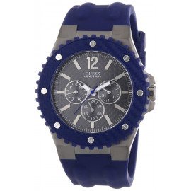 GUESS Watch W11619G2 Men's Watch Silicone Strap Steel Case