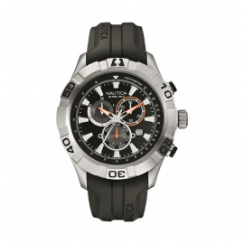 Men's Watch NAUTICA A18625G Steel Chronograph Case Gel Strap
