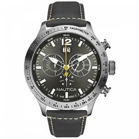 Men's Watch NAUTICA A19563G Steel Case Leather Strap