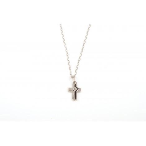 Collana con Pendente ONAIS J609 Croce in Argento con Zaffiro