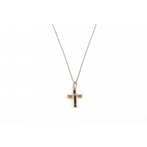 Collana Uomo con Pendente ONAIS J618 Croce in Argento con Zaffiro