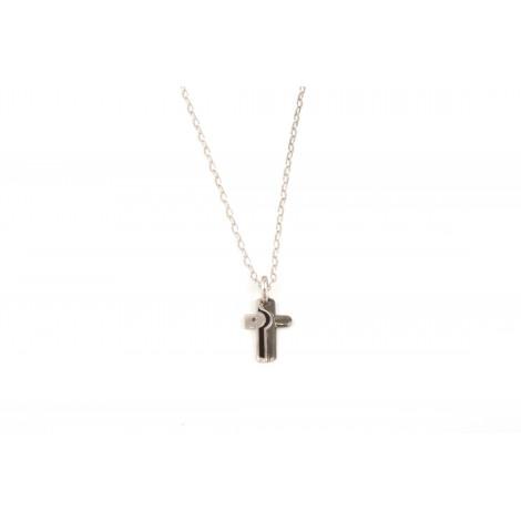Collana Uomo con Pendente ONAIS J621 Croce in Argento con Zaffiro
