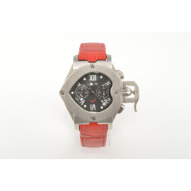 Chronograph Watch Woman OIW W11070 Heart Case in Steel Leather Strap