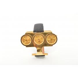 Orologio DonnaO.I.W. W3-pelle Cassa in Acciaio con 3 Quadranti Fuso Orario