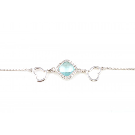 Bracciale Donna in Argento RASO Q4373 con Cuori e Cristallo Azzurro