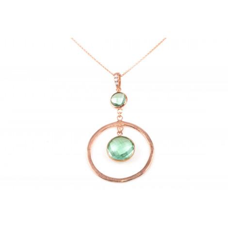 Collana Donna in Argento RASO Q4379 Color Bronzo con Cristallo Verde Pendente