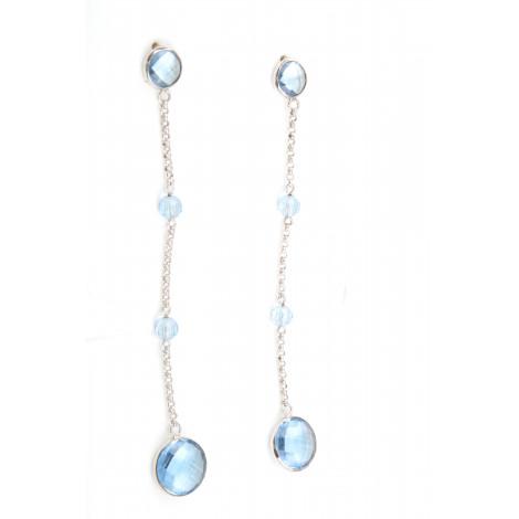 Orecchini Donna in Argento RASO Q4380 con Cristalli Azzurri