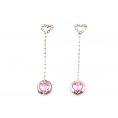 Orecchini Donna in Argento RASO Q4387 Pendenti Forma Cuore con Cristalli Rosa