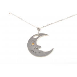 Stainless Steel Necklace ONAIS T2548 With Moon Shape Pendant With Face