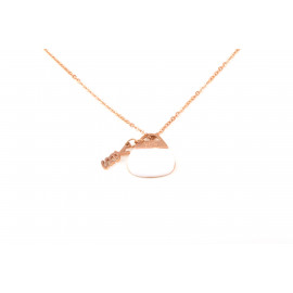 YES A861 Steel Stainless Steel Necklace with Pendant in Pink Plated Handbag