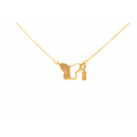 YES A865 Steel Stainless Steel Necklace with Gold Butterfly Pendant