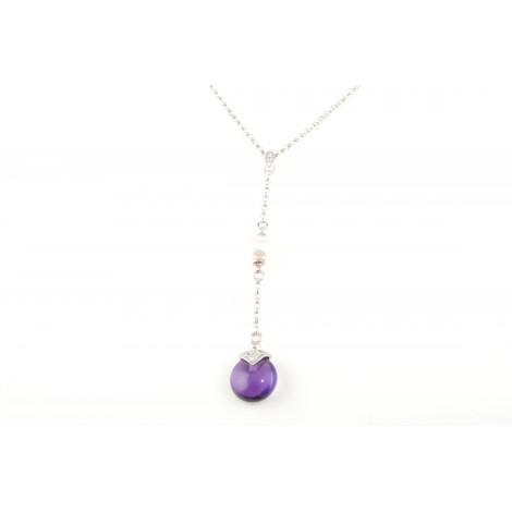 Collana Donna in Argento 925 NIHAMA Q5735 Pendente con Perla e Cristallo Viola