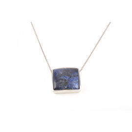 Woman Necklace in Silver ONAIS J6670 Pendant with Black and Blue Stone