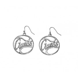 GUESS EARRINGS SILVER, PENDANTS, CIRCUIT WITH LOGO UBE12004
