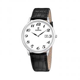 Men's Watch FESTINA F6806 / 5 Steel Case Black Leather Strap