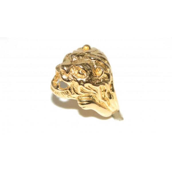 Très Anello Uomo testa di leone oro giallo 18 k peso 16 gr. cod. B0010  XF21