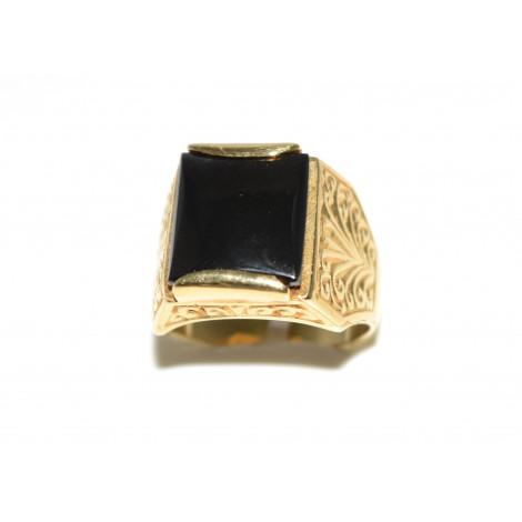 anello oro pietra nera