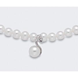 NECKLACE MIKIKO MC1446O4FCBI050 WHITE PEARL 5 / 5.5 AND DIAMOND