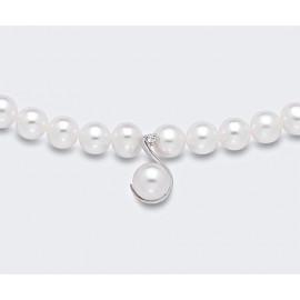 MIKIKO MC1445O4FCBI050 PEARL NECKLACE WHITE PERLA 5 / 5.5 AND DIAMOND