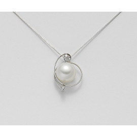 MIKIKO PEARL NECKLACE MD0880O4FABI085 WHITE PERLA 8.5 / 9 AND DIAMOND