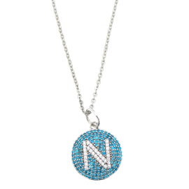 SSC NAPLES NECKLACE SILVER PENDANT & BLUE ZIRCONES KF4752