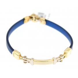 Bracciale Uomo Caucciù blu e Oro Bicolore 18Kt peso 23,00 gr X3333