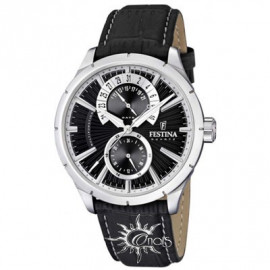 Festina F16573 / 3 Multifunction Men's Black Leather Watch