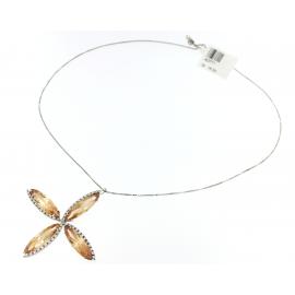 Collana Donna Oro Bianco 18kt con Pendente a fiore peso 16,05gr -K0771