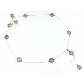 Collana Donna Oro Bianco con sfere martellate a mano - K0772