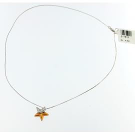 Collana Donna Oro Bianco 18kt con Pendente Stella zirconata - S11815