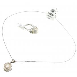 Collana Donna Oro Bianco 18kt con pendente Perla Bianca - X0355