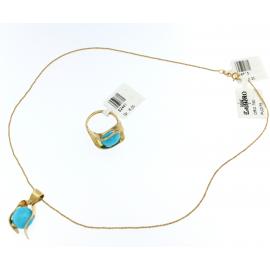 Collara Donna Oro giallo 18kt con pendente oro e turchese - S2442