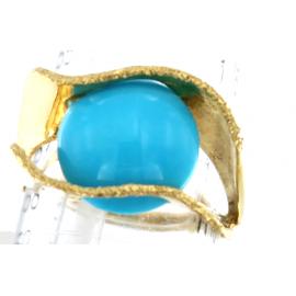 Anello Donna Oro Giallo 18kt con pietra turchese - S2441