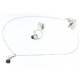 Collana Donna Oro Bianco 18kt Pendente con due Perle -  S9198